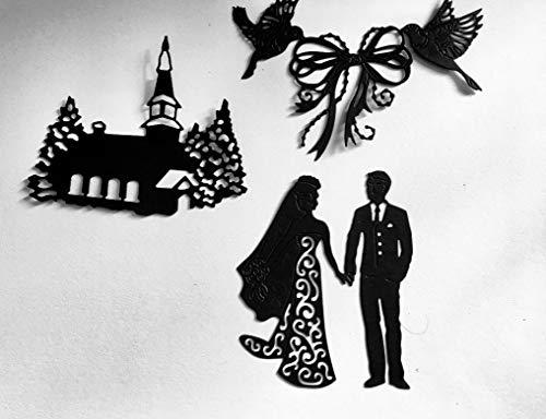 Stanzformen/Silhouetten - Hochzeitsset C - aus Spiegel/Glitzer-Karte geschnitten Silber Glitter -