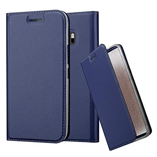 Cadorabo Hülle für HTC One M10 - Hülle in DUNKEL BLAU – Handyhülle mit Standfunktion und Kartenfach im Metallic Look - Case Cover Schutzhülle Etui Tasche Book Klapp Style