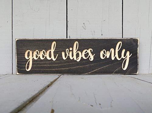 Derles Wood Good Vibes Good Vibes Only Good Vibes Only Schild Positive Vibes Holz Schild Good Vibes Zitat Wandschild -