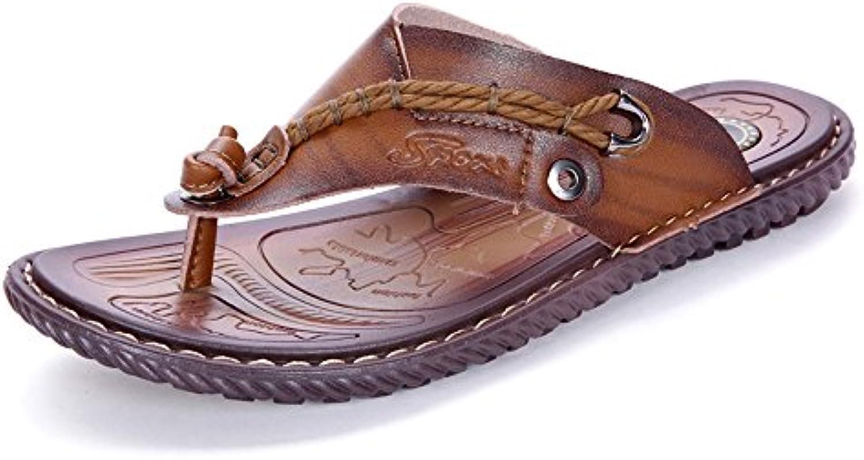 LLPSH Männer PU Leder Flops Thong Flip Flops Schuhe Casual Sommer Strand Hausschuhe Rutschfeste Weiche FlacheLLPSH Männer Hausschuhe Rutschfeste Sandalen