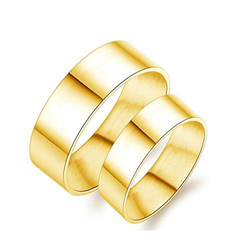 Doppel-holz-raucher (Bishiling 2 Pcs Edelstahl Paar Ring Edelstahlring Hochglanzpoliert Rund Breite 6/8MMVerlobungsring Paarringe Hochzeit Gold Damen Gr. 52 (16.6) & Herren Gr. 60 (19.1))