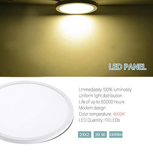 Gighlofe Deckenleuchte Wandleuchte Innen DownLight 20W AC 85-265V Wohnzimmer Deckenleuchten 4000K Tageslicht weiß Einbauleuchten Panellampe Runde Einbaustrahler Deckenlampe -