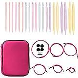 Coopay Kit de agujas circulares intercambiables con funda de piel rosa, 10 pares de agujas de doble punta de punto de 3,75 mm