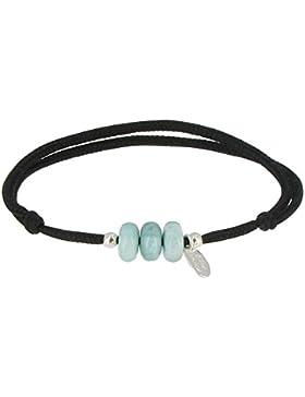 Schmuck Les Poulettes - 3 Blue Link Bracelet Dominikanische Larimar Perlen und Silber Perlen