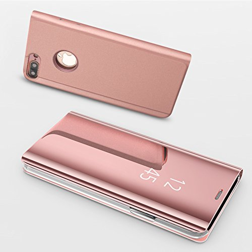 TOCASO iPhone 6S Plus Hülle LED View Cover iPhone 6 Plus Schutzhülle iPhone 6S Plus Flip Wallet Case iPhone 6S Plus Ledertasche Flip iPhone 6 Plus/iPhone 6S Plus Handyhülle Standfunktion -Roségold