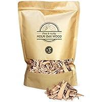 1.7 litros, virutas de madera de encina para barbacoa & ahumar, talla 2 - 3cm, Smokey Olive Wood