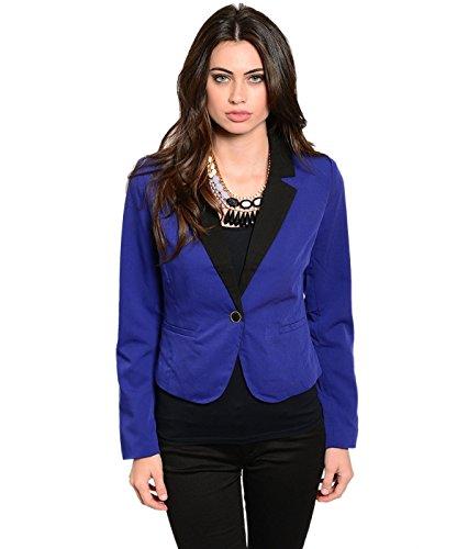 2LUV Frauen 'stailored 3/4Sleeve Single Button Blazer, Blau - Sleeve Boyfriend Blazer