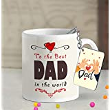 TIED RIBBONS Father's Day Printed Ceramic Coffee Mug with Wooden Keychain, 325 ml, Multicolour