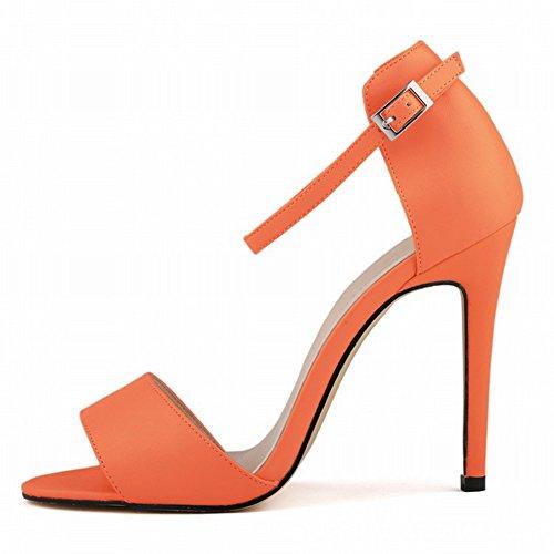 Damen Sommer Lässige Einfache Römische Stil Riemenband Metallschnalle Stilettos Sandalen Pumps Orange
