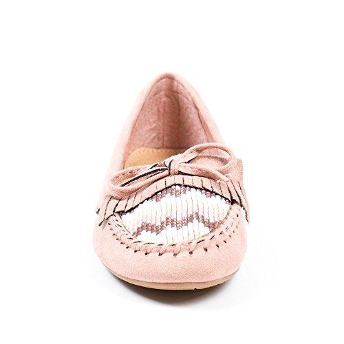Ideal Shoes Mocassins Effet Daim avec Strass et Franges Tinya Rose