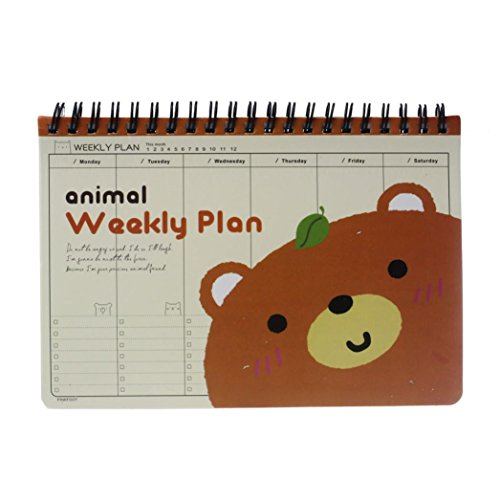 Agenda, Kolylong® Journal Weekly Planner Agenda Bloc-Notes Notebook Peinture Mignon Animaux Carnet Kawaii Monthly And Weekly Planner 2016 Cute Korean Stationery (Cafe)