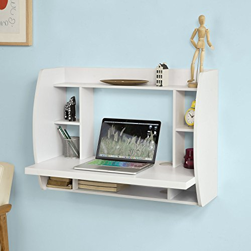 Miraculous Sobuy Fwt18 W White Wall Mounted Table Desk With Storage Shelves And Drawers Home Office Desk Workstation Download Free Architecture Designs Estepponolmadebymaigaardcom