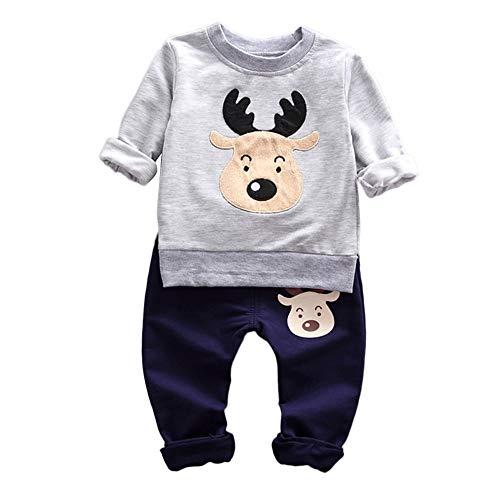 Riou Weihnachten Baby Kleidung Set Kinder Pullover Pyjama Outfits Set Familie Kleinkind Baby Mädchen Jungen Rotwild Oberseiten Hosen Ausstattungs Satz (70, Grau)