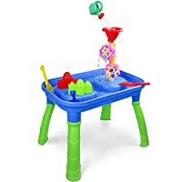 Sand and Water Table Beach Toys Set with Water Wheels and Sand Molds Outdoor Activity Kids Play Table for Summer Holiday, 3+