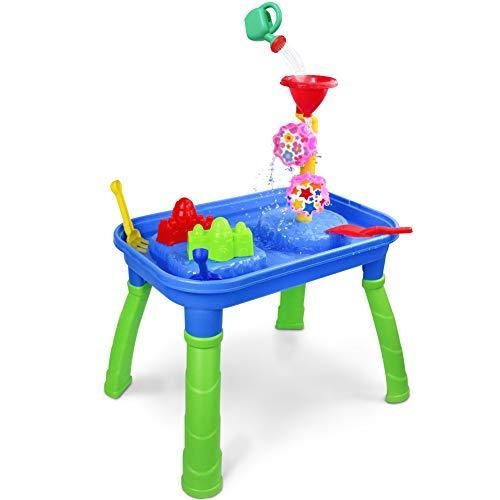 Tavolini Sabbia e Acqua Giocattoli Spiaggia Giochi All'aperto Tavolo per Bambini Compreso con Ruota Idraulica e Stampi in Sabbia per Bambini di 3 4 5 Anni
