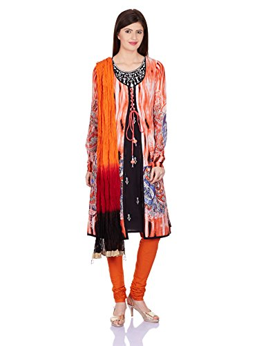 Rain and Rainbow Women's Anarkali Salwar Suit (SKD-4302-AW/33-02_Orange_XL)
