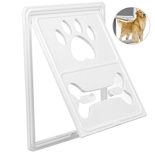Petacc Hundeklappe/Katzenklappe Haustier Durchgang Schirm Tür mit Snap Verriegelung und automatischem Sperre Design für Hunde und Katze für Die Meisten Tür und Fensterscheibe
