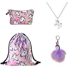 DRESHOW Confezione da 4 Zaini con coulisse e unicorno / Borsa per make up / Collana con catena in lega / Pendente con catena portachiavi borsetta