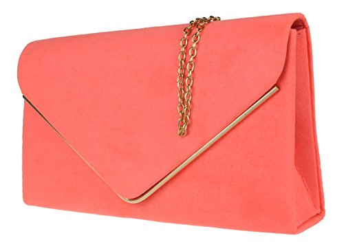81442becf04 Girly HandBags Faux Suede Clutch Bag Envelope Metallic Frame Plain Design  Evening (Neon Coral)