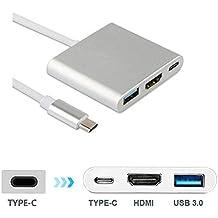 Tipo C a HDMI + USB3.0 Adaptador, FeliSun USB 3.1 Tipo C Adaptador con Puerto HDMI 4K, Puerto USB 3.0 y USB C 3.1 Puerto de carga rápida para todos los MacBook, ChromeBook Pixel y otros dispositivos USB-C - Gris