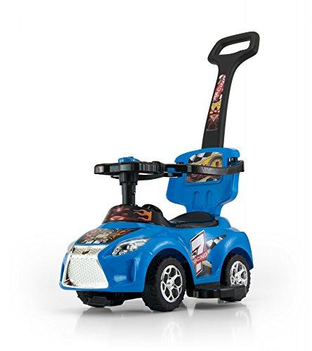 Porteur Auto en 5 couleurs: Voiture pour enfants 3 en 1 évolutif, tige de poussée amovible, siège repliable, Couleur:rouge