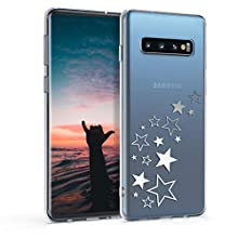 kwmobile TPU Case Compatible with Samsung Galaxy S10 - Soft Crystal Clear IMD Design Back Phone Cover - Star Mix Silver/Transparent