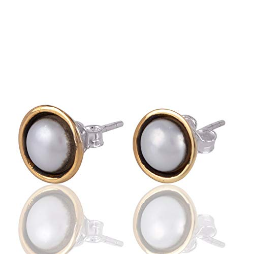 Two Tone Silver Freshwater Pearl Earrings (Ohrringe Two Tone)
