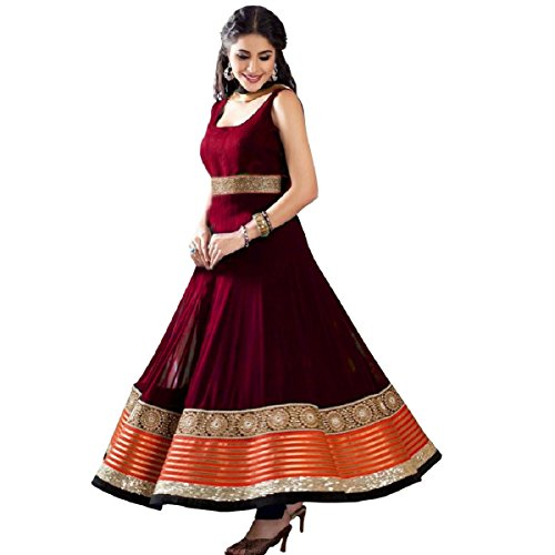 Active Feel Free Life Women's Anarkali Salwar Suit Georgette Fabric With Embroidery Work (DR046AO1218M-OLL12_Free Size_Maroon)