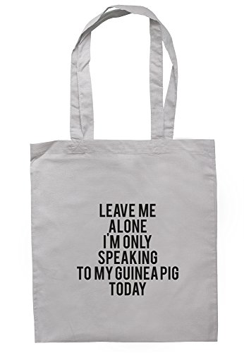 breadandbutterthreads Leave Me Alone sono solo speaking to my guinea pig oggi Borsa 37,5 cm x 42 cm con manici lunghi Light Grey