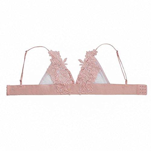 Dessous lingerie Damen,Yanhoo Heiße Mode Unterwäsche Männer Elastische Mode Frauen Blumenspitze Bralette Bustier Crop Top Sheer Bra (Rosa, L) (3 Sheer Bra Stück)