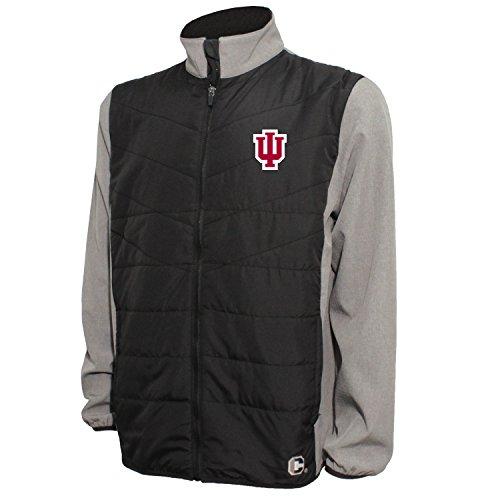 Crable NCAA Herren Gesteppte Vorderseite Panel Bonded Jacke, Herren, Quilted Front Panel Bonded Jacket, Black/Gray Heather, Small Quilted Zip-front-jacke