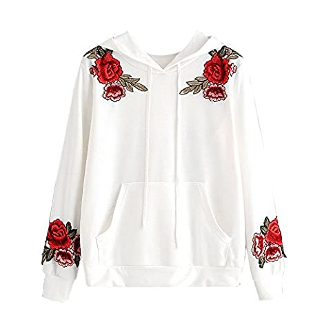 Women Tops, FriendG Womens Long Sleeve Rose Embroidery Applique Hoodie Sweatshirt Hooded Tops Blouse (XL, White)