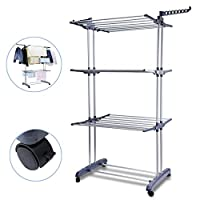 Voilamart Foldable 3 Tier Clothes Rack, Outdoor Indoor Airer, Laundry Drying Rack, Heavy Duty Clothes Horse, Adjustable Garment Clothes Dryer with Wheels, Grey