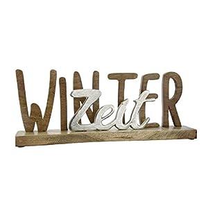GILDE Schriftzug Winterzeit auf Holz-Base in Aluminium und Mango-Holz, Natur, Silber L=7,5 cm B= 43,5 cm H= 16,5 cm 23542