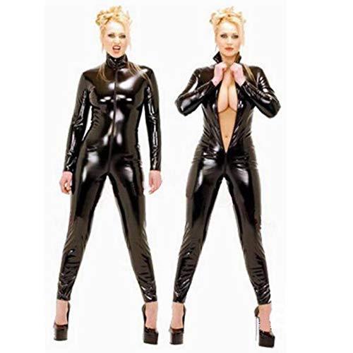 Of The Queen Kostüm Dance - NIERJIU Damen Strumpfhose Set Hot Dance Kostüm Motorradbekleidung Adult Fun Siamese Open Zipper Erotic Nightclub Masquerade Queen Kostüm,Black,S