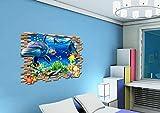 QTXINGMU 3D-Unterwasserwelt Wand Aufkleber Die Lebensbedingungen Der Kinder Zimmer Kindergarten Hintergrund Dekoration PVC-Aufkleber