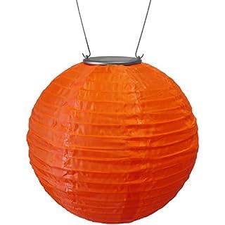 Allsop Home and Garden 10-Inch Round Soji Solar Lantern, Orange, 1-Count