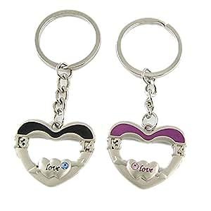 Paar Herz LIEBE SIE Metall Schlüsselanhänger für Liebhaber Paar