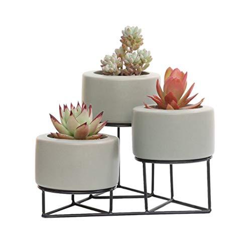 Jgfds Blumenregale Eismetall Standing Blumenschal für 3 Keramik-Pflanze Blumen-Pots Holder Stand...