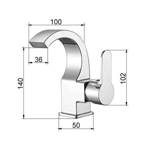 Homitex Waschtischarmatur Badarmatur Wasserhahn Spültischarmatur Wasserfall Spüle Armatur einhebelmisch Chrom -