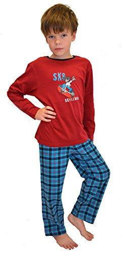 Mohn Knaben Schlafanzug Größe 152 warmer Schlafanzug jungen jungs Pyjama Flanell-hose jungen jungs Flanell jungen Knaben karierte Hose langer schlafanzug schlafanzug Knaben Seidensticker