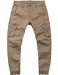 be5d2723333d BHYDRY Mens Combat Cargo Work Trousers Black Pure Color Multi Pocket Casual  Cotton Pencil Pants