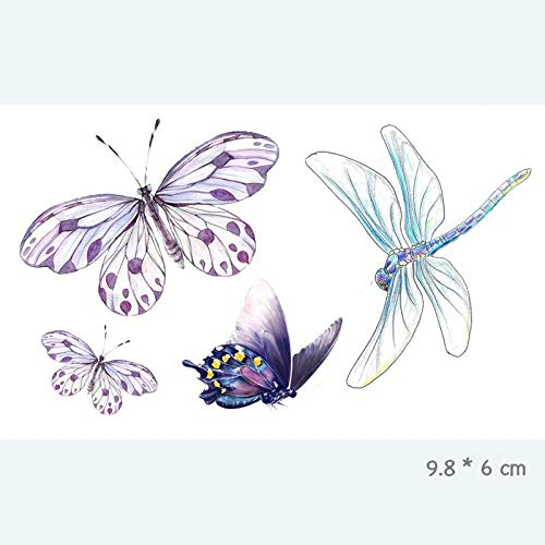 HDNSA Schmetterling Libelle wasserdicht temporäre Tätowierung Aufkleber für Erwachsene Kinder Body Art gefälschte Tätowierung für Frauen Männer Tattoo