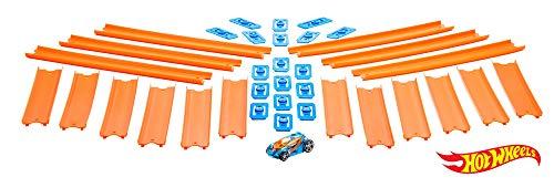 Hot Wheels Track Builder, tramos de pista con vehículo incluido, accesorios para pistas de coches de juguete (Mattel BHT77)