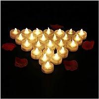 24 PCS Bougies LED Flamme Vacillante Lumière Ambre Chauffe-Plat avec Piles Décoration de Halloween Maison Mariage Anniversaire Soirée Fête