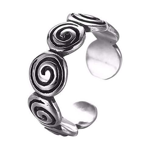 HDDWZH Woman Ring,Gothic Swirl Silber Ring Silber Mann Frauen Ring Verstellbare Verdrehte Ringe Für Frauen Schmuck Handgemachtes Geschenk (Swirl Verlobungsring)