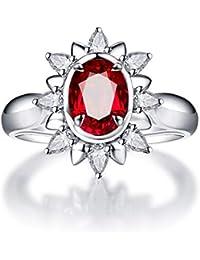 13131867c0aa KnSam Joyas-Amor Eterno  Anillos Plata Compromiso Anillo de Diamante 1.12CT  de 18K de