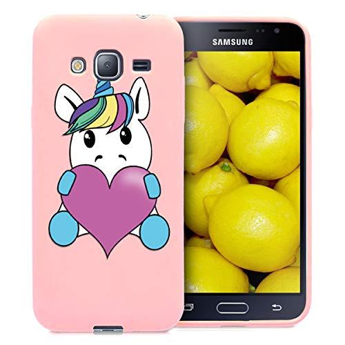 Yoedge Cover Samsung Galaxy J3 2016, Sottile Antiurto Custodia Rosa Silicone TPU con Disegni Pattern Ultra Slim 360 Protective Bumper Case per Samsung Galaxy J3 2016, Unicorno 1