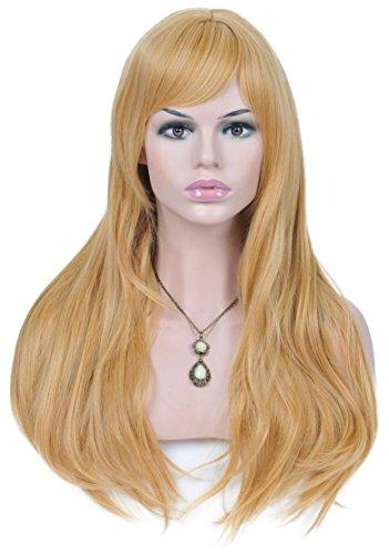 Spretty reizvolle volle Haar-Perücke lange goldene blonde natürliche Ende-Rollen-Perücken für tägliche Cosplay (Meerjungfrau Wellen Perücke Erwachsene)