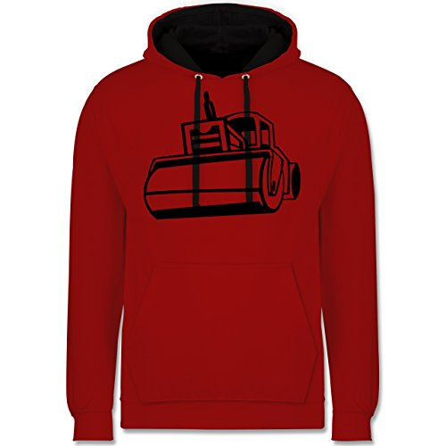 Andere Fahrzeuge - Dampfwalze - Kontrast Hoodie Rot/Schwarz